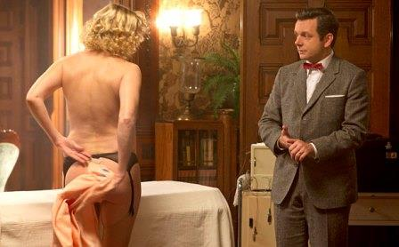 Nicholle Tom as Maureen and Michael Sheen as Dr. William Masters in Masters of Sex (season 1, episode 2) - Photo: Peter Iovino/SHOWTIME - Photo ID: MastersofSex_102_0977