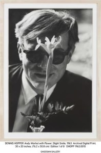 Dennis Hopper, Andy Warhol with Flower, 1963, stampa in gelatina d'argento, 23,7x18 inches, 60.10x45.7cm, __ The Hopper Art Trust