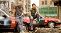 Director Michael Bay with Mark Wahlberg on set in Detroit.