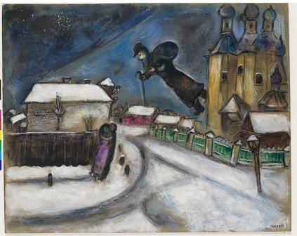 Marc Chagall Over Vitebsk, n.d. Pencil, India ink, gouache, watercolor, graphite, and crayon on cardboard, 515 x 643  The Anna Salzmann collection, Paris A gift to the State of Israel On permanent loan to The Israel Museum, Jerusalem, from the Administrator General of the State of Israel L-B04.052 Coll. IMJ