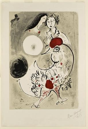 Marc ChagallPair of Lovers with CockColor lithograph, 1951, 748 x 530 Gift of Ida Chagall, Paris51-5-409 Coll. IMJ