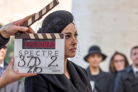 Monica Bellucci on location in Rome on the set of Metro-Goldwyn-Mayer Pictures/Columbia Pictures/EON Productions? action adventure SPECTRE.